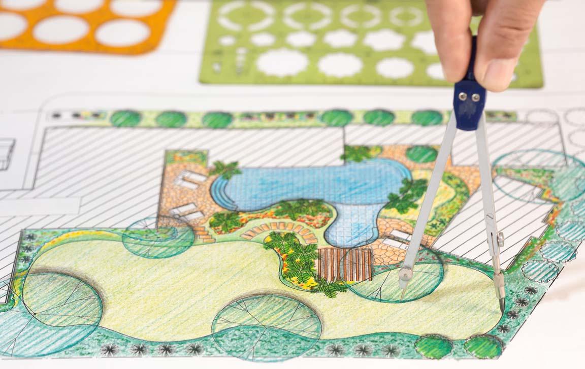 Landscape architect designing garden