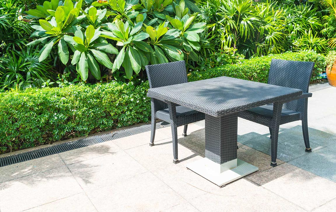 new concrete patio with modern furniture